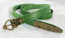 "63"" Green Leather Viking Long Belt -- Borre Style with Brass Buckle & Hardware"