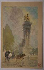 Rare MONOTYPE Ancien Paysage PARIS Pont Alexandre III LEON LEPELTIER c.1900