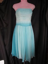 Laundry Blue Ombre Embellished  Strapless Silk Dress  Sz 6 (HH)