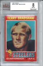1971 Topps Football #156 Terry Bradshaw Rookie Card BVG 8