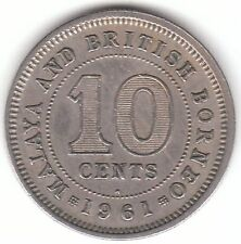 Malaya and British Borneo 1961 H - 10 Cents Copper Nickel Coin - Asia