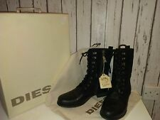NEW Diesel GIVE Women's Black Leather Ankle boots size 7