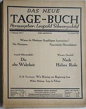 Das Neue Tage-Buch 5. Jahrgang, Leopold Schwarzschild., Zeitschriften, Exil