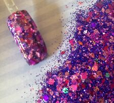 glitter mix acrylic gel nail art   VIOLET JAZZ