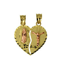 14K 2 Tone Yellow Gold Small Guadalupe Jesus Split Break Broken Heart Pendant