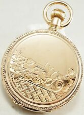 Solid 14k Elgin 15 jewel 16s Ornate Pocket Watch with protective shroud
