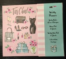 NEW Tres Chic Weekly Planner Note Pad Memo Sticky Schedule Girly No Dates
