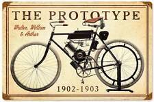The Prototype 1902 1903 Vintage Metal Motorcycle Racing Sign Wall Decor FRC069