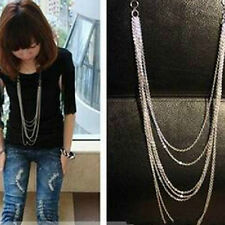 New Silver Plated 7 layer Long Tassel Pendant Charm Necklace Chain Gift Jewelry