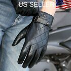 Men's Genuine Leather Winter Gloves Black