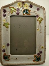 Majolica Victorian Inspired Picture Frame w/Glass Berries Leaves Flowers