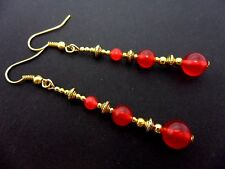 A PAIR RED JADE BEAD GOLD TONE EXTRA LONG DANGLY EARRINGS. NEW.