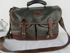 ROOTS Made in Canada 100% Leather HA-LO Weekender Duffel Bag Brass Trim Black