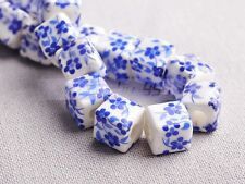 20pcs 10mm Cube Charms Flower Patterns Ceramic Porcelain Loose Spacer Beads