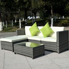 5PC Patio Rattan Wicker Sofa Set Furniture Garden Gradient Gray Cushioned Steel@