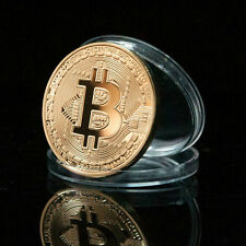 1 Pc Rare Gold Plated 1oz Bitcoin Collectible Gift In Stock Commemorative Coin