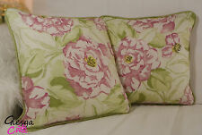 Designer Harlequin Rosella Cushion Cover Roses Pink Green piped Floral Linen