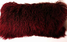 Mongolian Lamb Fur Pillow Burgundy New made in usa Real Tibet cushion Tibetan