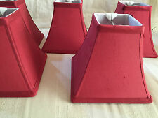 "5) LOTS SILK BLEND FABRIC CHANDELIERS LAMP SHADE DARK RED 5.5"" HIGH SQUARE NICE"