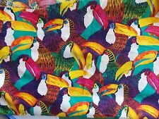 Estate Fabric Alexander Henry Toucans Birds BTY BIRD Rare OOP Colorful  Quilt