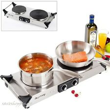 Double Electric Cast Iron Hot Plate Cooktop Countertop Burner Stove Portable NEW