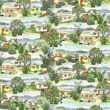 Fat Quarter Retro Caravans Holiday Camping 100% Cotton Quilting Fabric Nutex