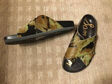 SAM EDELMAN CAMOUFLAGE PONY HAIR SANDALS.  LADIES SIZE 8. SIMILAR TO BIRKENSTOCK
