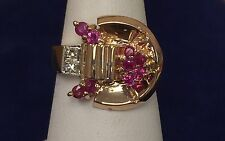 1940s Ladies Antique Art Deco 14k Rose Gold Diamond Ruby Cocktail Ring