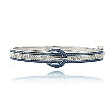 0.50ct TDW Blue & White Diamond Belt Buckle Bangle Bracelet