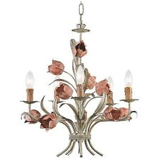 ITALY TOLE STYLE PINK FLOWERS 5 light NATURAL finish Chandelier PLUGIN OPTION