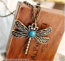 Necklace antique LONG chain pendant dragonfly rhinestone Crystals insects