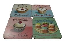 Martin Wiscombe Set of 4 Retro Fairy Cup Cakes Melamine Coasters - Gift Idea
