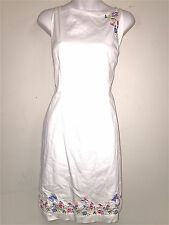 AMANDA SMITH WOMENS LADIES WHITE EMBROIDERED SHEATH STRETCH COTTON DRESS ~SZ 12