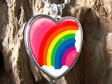 Colorful Pink Little Girl Rainbow & Clouds Silver Glass Heart Pendant Necklace