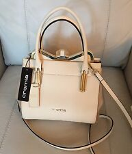 Cromia Unica Made In Italy Beige Saffiano Leather Satchel Shoulder Crossbody NWT