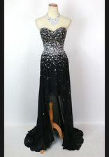 New Genuine Paparazzi 95040 Strapless Black Pageant Prom Evening Gown Size 2