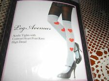 LA-7453 Sexy Black Gray Tights Red Heart Knee High Hosiery Pantyhose Halloween