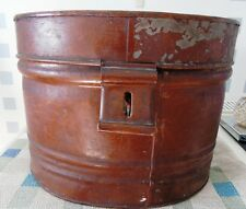 LARGE ANTIQUE VINTAGE VICTORIAN METAL TIN HAT BOX STORAGE CASE CHEST