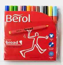 Set 12 Berol BROAD Fibre Tip Felt Marker Assorted Colour Pens Colouring Washable