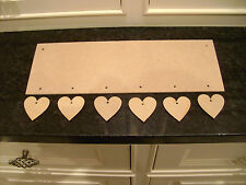 6 hearts MDF Wooden Plaque Sign Blank Craft Shapes + hanging Hearts + string