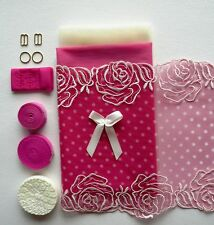 Fun Pink Dotty Lace Bra Making Kit. Inc Fabric and Notions. Sewing Crafts