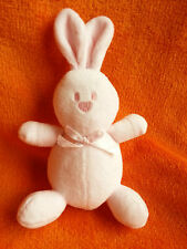 """Mallory Grant Emile Pink rabbit soft toy baby comforter 7"""" Squeeker tummy"""
