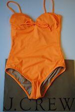 NWT J Crew Neon Tie Front Bandeau Swimsuit One Piece Neon Mango Sz 12 09656