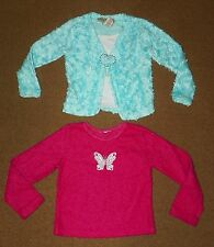 2 Girls Fussy TOPS Shirts Size 4 Chenille Turquoise Pink Heart Butterfly