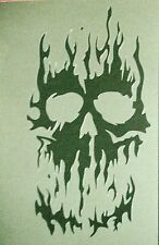 NEW S12 A4  Airbrushing Stencil FIRE FLAME SKULL Template Textile Paint Craft