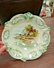RS PRUSSIA PORCELAIN COTTAGE SCENE BOWL - STUNNING COLORS