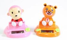 Monkey & Orange Tiger Sitting on Log Chinese Zodiac Home Decor Gift Solar Toy