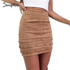 US 12 Vintage Suede Faux Leather Bodycon Skirt Women High Waist Pencil Skirt