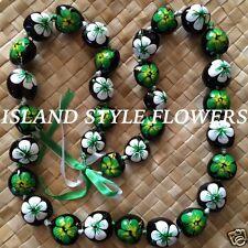 Hawaii Wedding GREEN WHITE Kukui Nut Lei Graduation Luau Hula Necklace Hibiscus