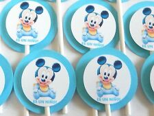 "15 BABY MICKEY MOUSE ""ES UN NIÑO"" Cupcake Toppers Party Favors, Baby Shower 15"